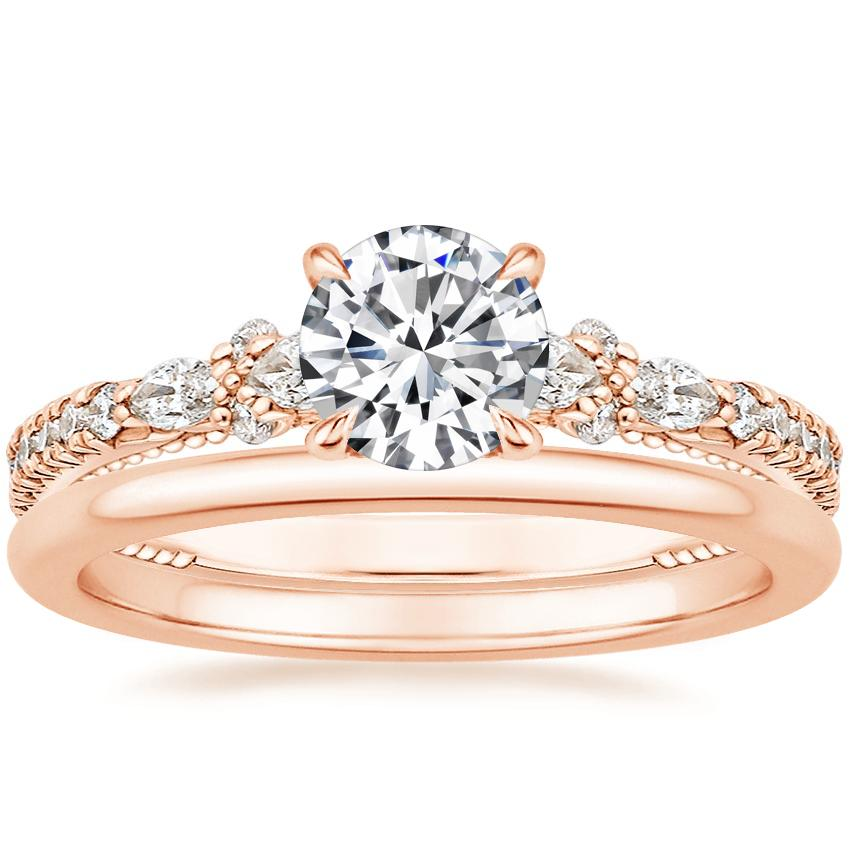 14K Rose Gold Primrose Diamond Ring with Petite Comfort Fit Wedding Ring