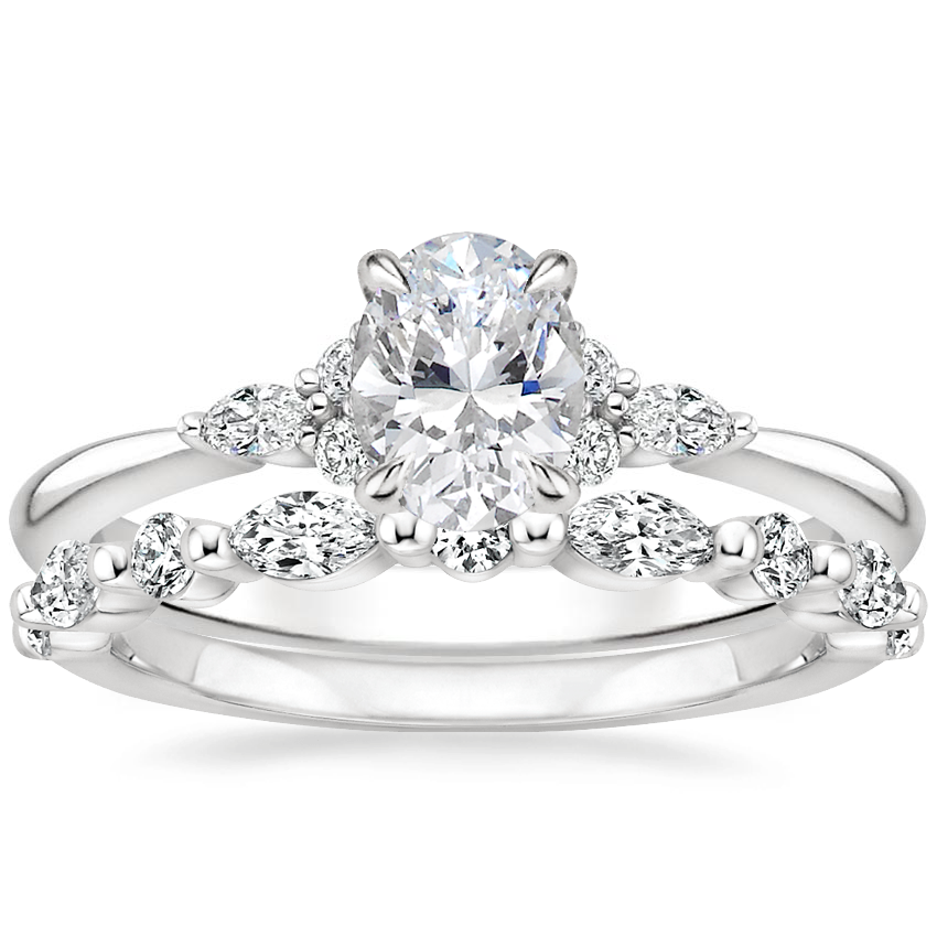 18K White Gold Nadia Diamond Ring with Versailles Diamond Ring (3/8 ct. tw.)