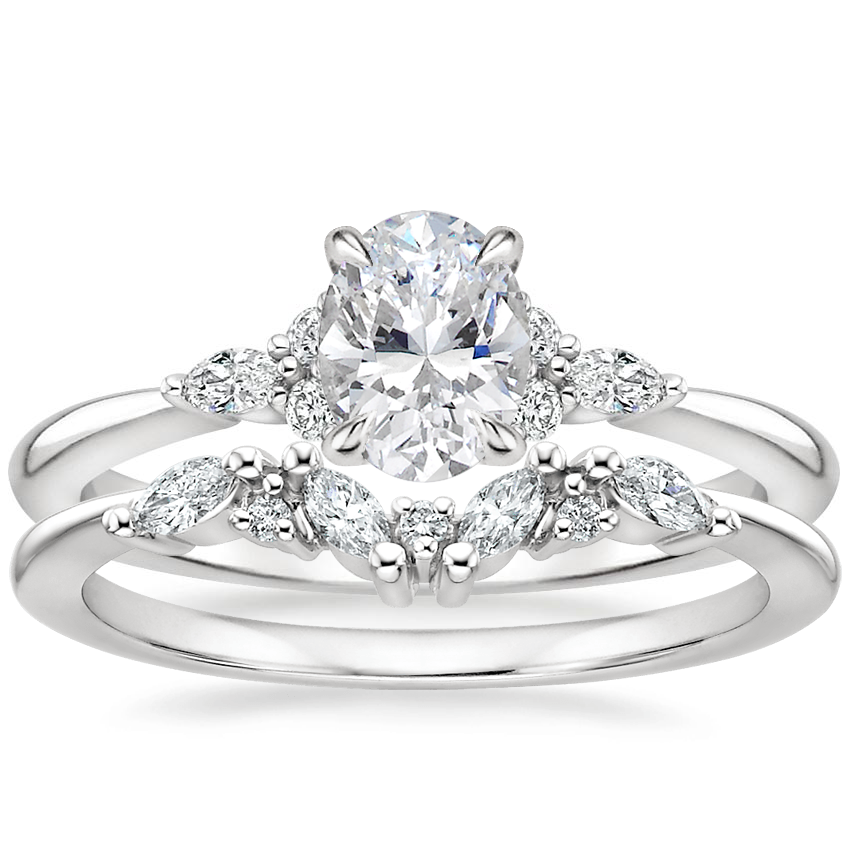 Platinum Nadia Diamond Ring with Yvette Diamond Ring