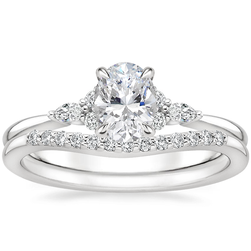 18K White Gold Nadia Diamond Ring with Petite Curved Diamond Ring (1/10 ct. tw.)