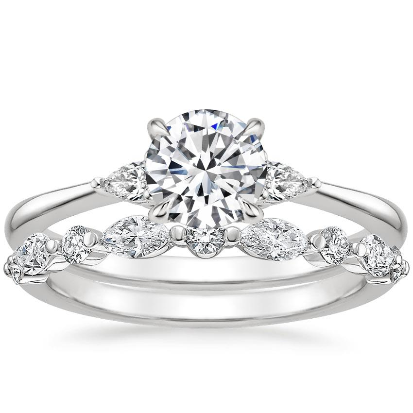18K White Gold Aria Diamond Ring (1/10 ct. tw.) with Versailles Diamond Ring (3/8 ct. tw.)
