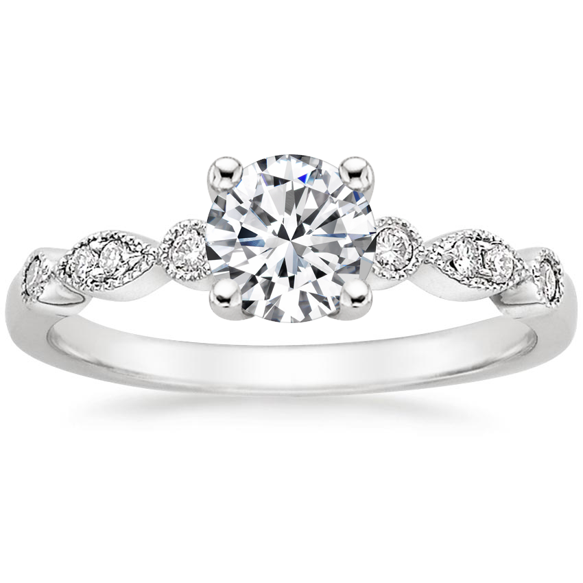 Round 18K White Gold Tiara Diamond Ring (1/10 ct. tw.)