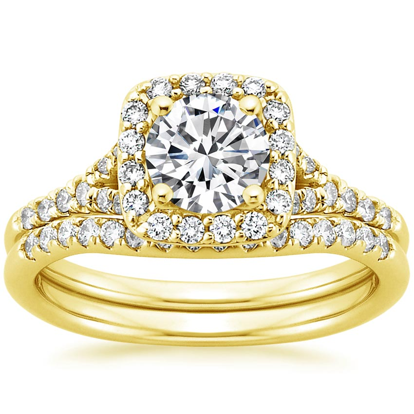 18K Yellow Gold Harmony Diamond Ring Matched Set, top view