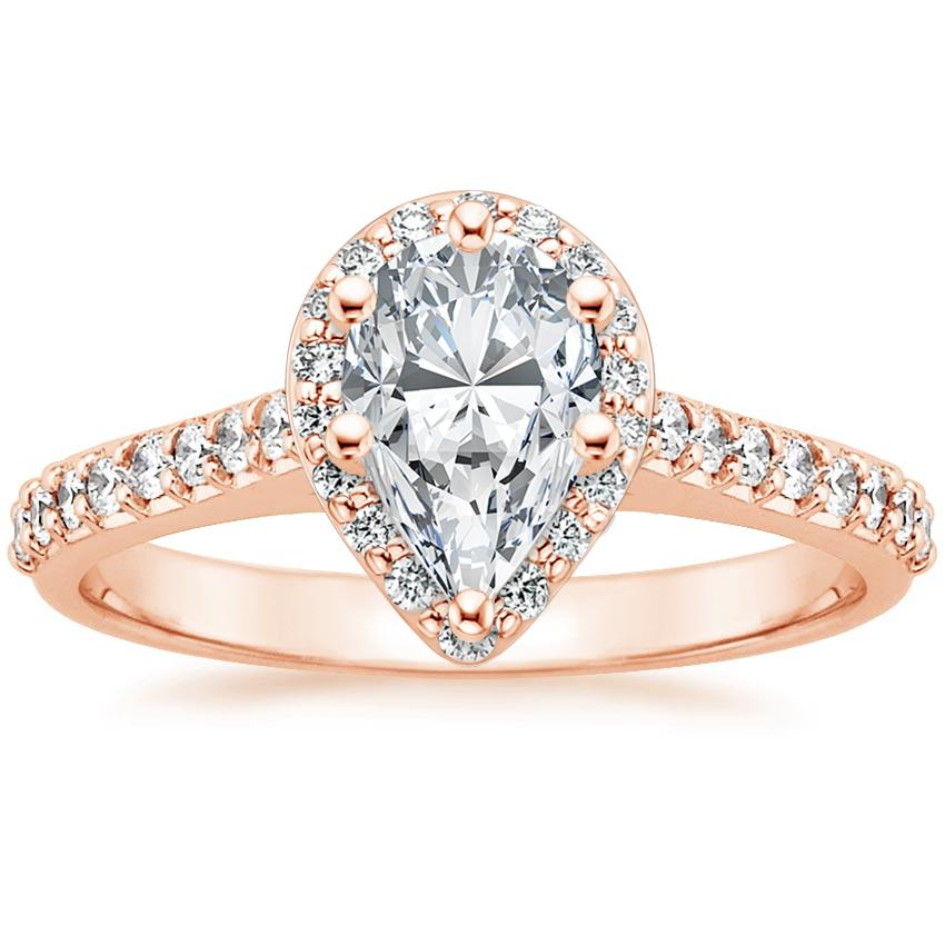 Pear Cushion Halo Engagement Ring