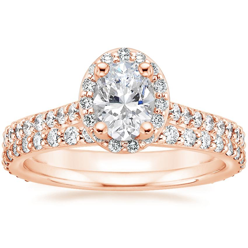 14K Rose Gold Fancy Halo Diamond Ring with Side Stones (2/5 ct. tw.) with Petite Shared Prong Eternity Diamond Ring (1/2 ct. tw.)