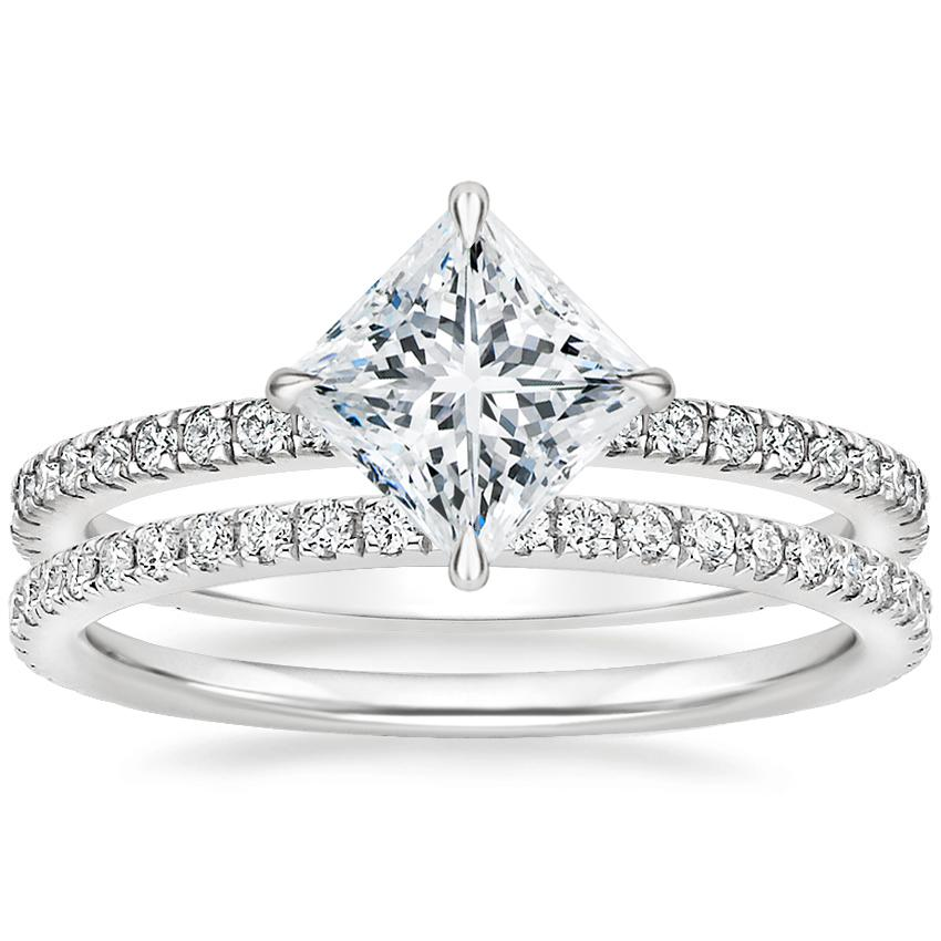 18K White Gold Polaris Diamond Ring with Luxe Ballad Diamond Ring (1/4 ct. tw.)