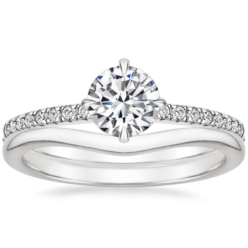 Platinum Polaris Diamond Ring with Petite Curved Wedding Ring