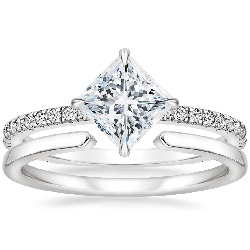 18K White Gold Polaris Diamond Ring with Liv Wedding Ring
