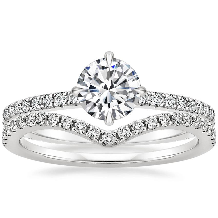 18K White Gold Polaris Diamond Ring with Flair Diamond Ring (1/6 ct. tw.)