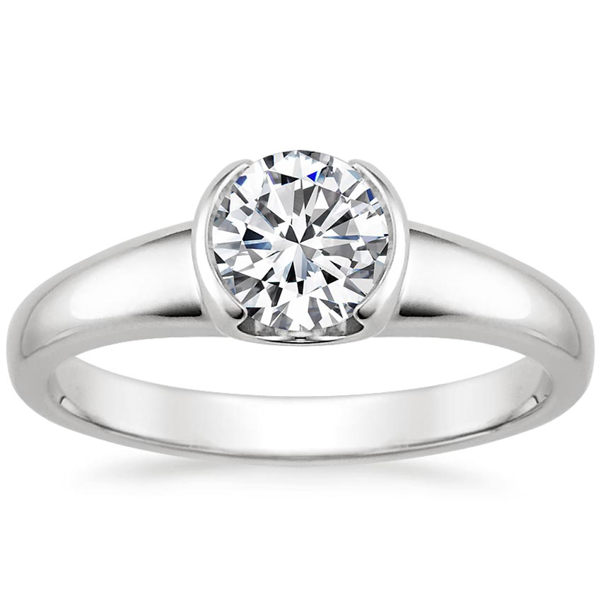 18K White Gold Petite Semi-Bezel Ring, top view