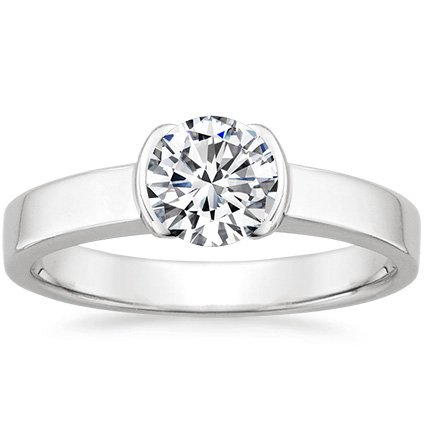 Round Platinum Semi-Bezel Ring