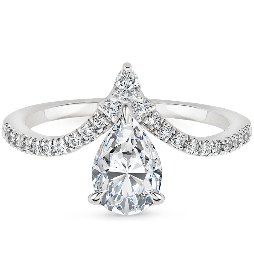 Pear 18K White Gold Nouveau Diamond Ring