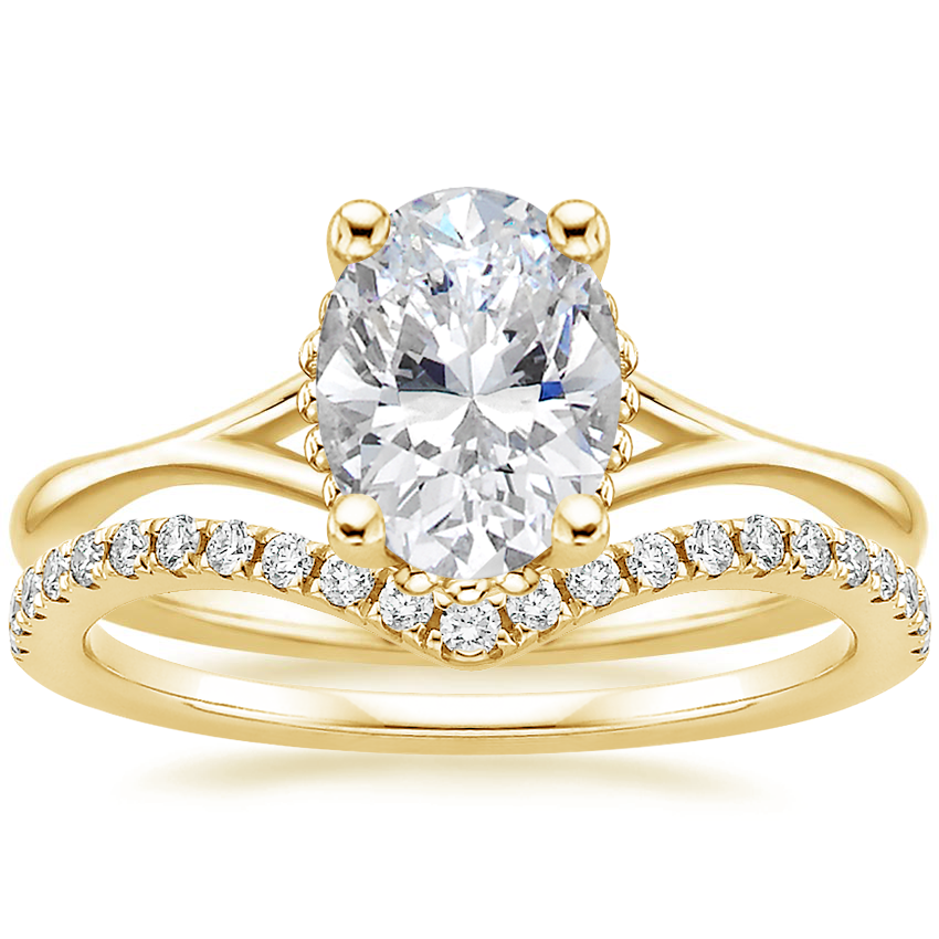 18K Yellow Gold Cava Ring with Flair Diamond Ring (1/6 ct. tw.)
