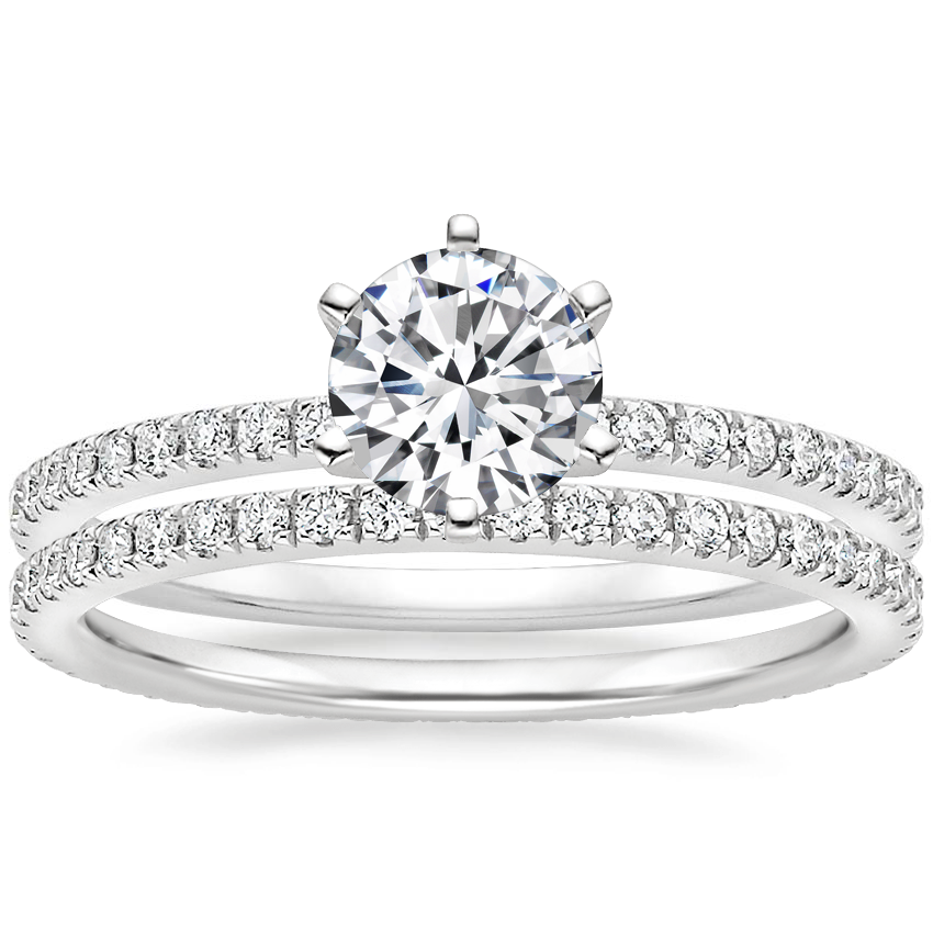 18K White Gold Lyric Diamond Ring with Ballad Eternity Diamond Ring (1/3 ct. tw.)