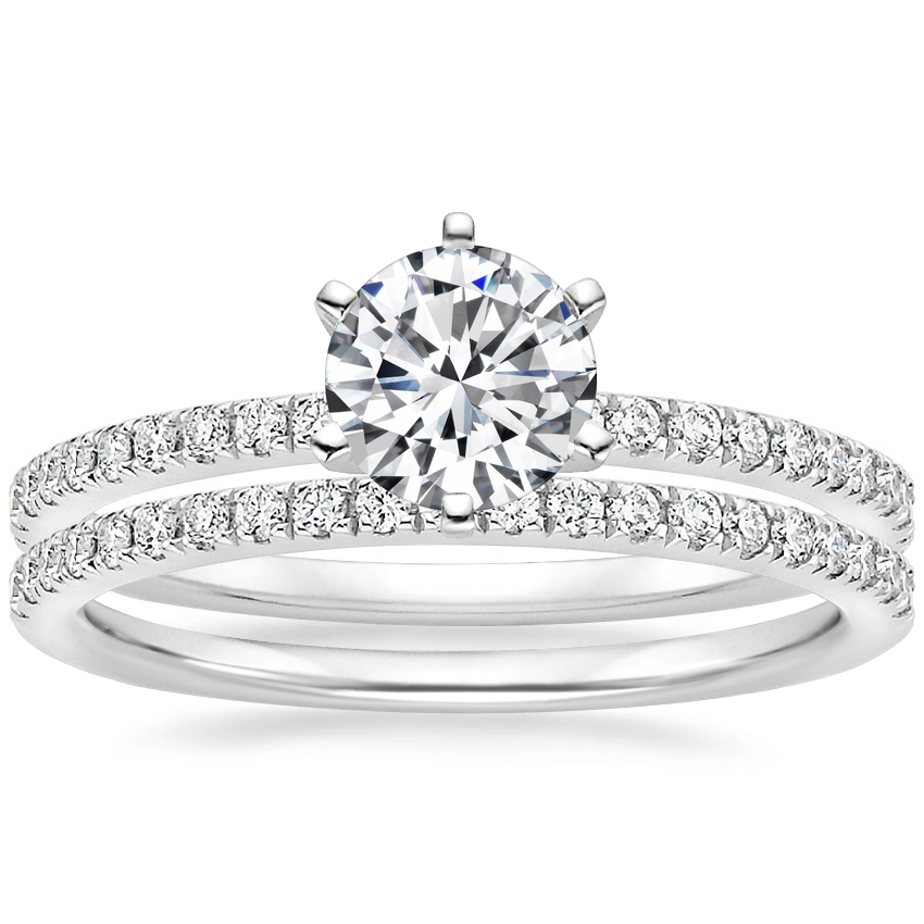 18K White Gold Lyric Diamond Ring with Ballad Diamond Ring (1/6 ct. tw.)