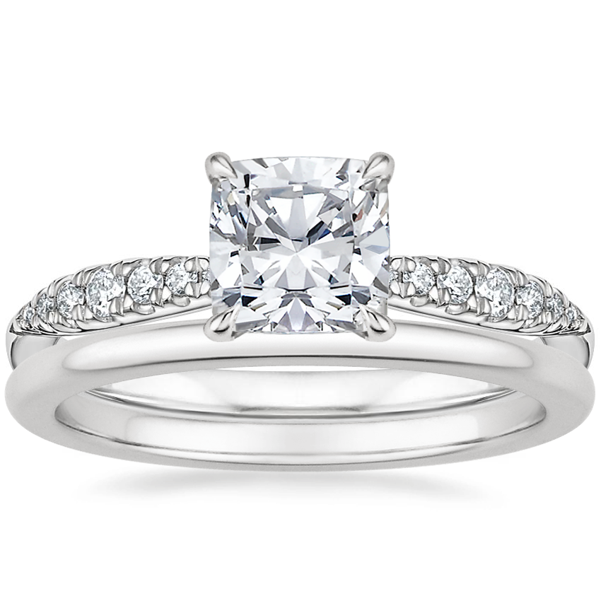 Platinum Emmeline Diamond Ring with Petite Comfort Fit Wedding Ring