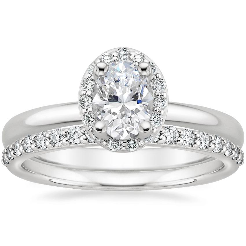Platinum Fancy Halo Diamond Ring (1/8 ct. tw.) with Petite Shared Prong Diamond Ring (1/4 ct. tw.)