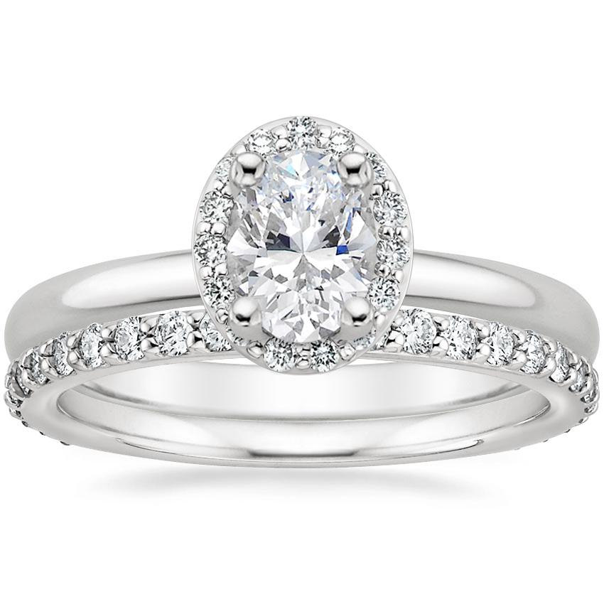18K White Gold Fancy Halo Diamond Ring (1/8 ct. tw.) with Luxe Petite Shared Prong Diamond Ring (3/8 ct. tw.)