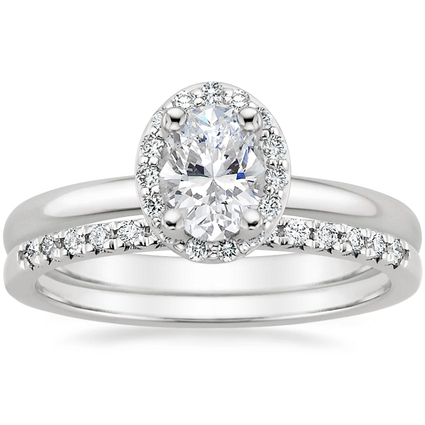 18K White Gold Fancy Halo Diamond Ring (1/6 ct. tw.) with Sonora Diamond Ring (1/8 ct. tw.)