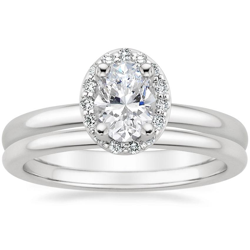 Platinum Fancy Halo Diamond Ring (1/8 ct. tw.) with Petite Comfort Fit Wedding Ring