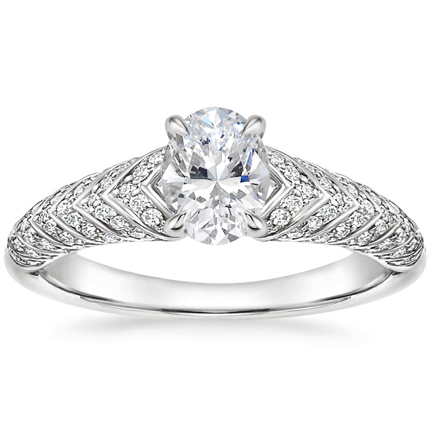 Oval Luxe Chevron Claw Prong Engagement Ring
