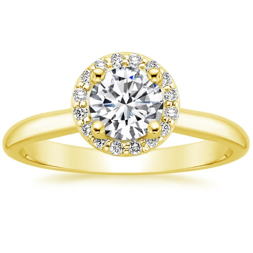 18K Yellow Gold Halo Diamond Ring (1/8 ct. tw.), top view