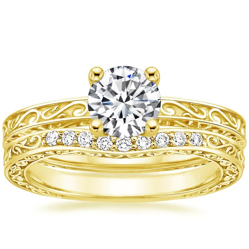 18K Yellow Gold Delicate Antique Scroll Ring with Delicate Antique Scroll Contoured Diamond Ring (1/15 ct. tw.)