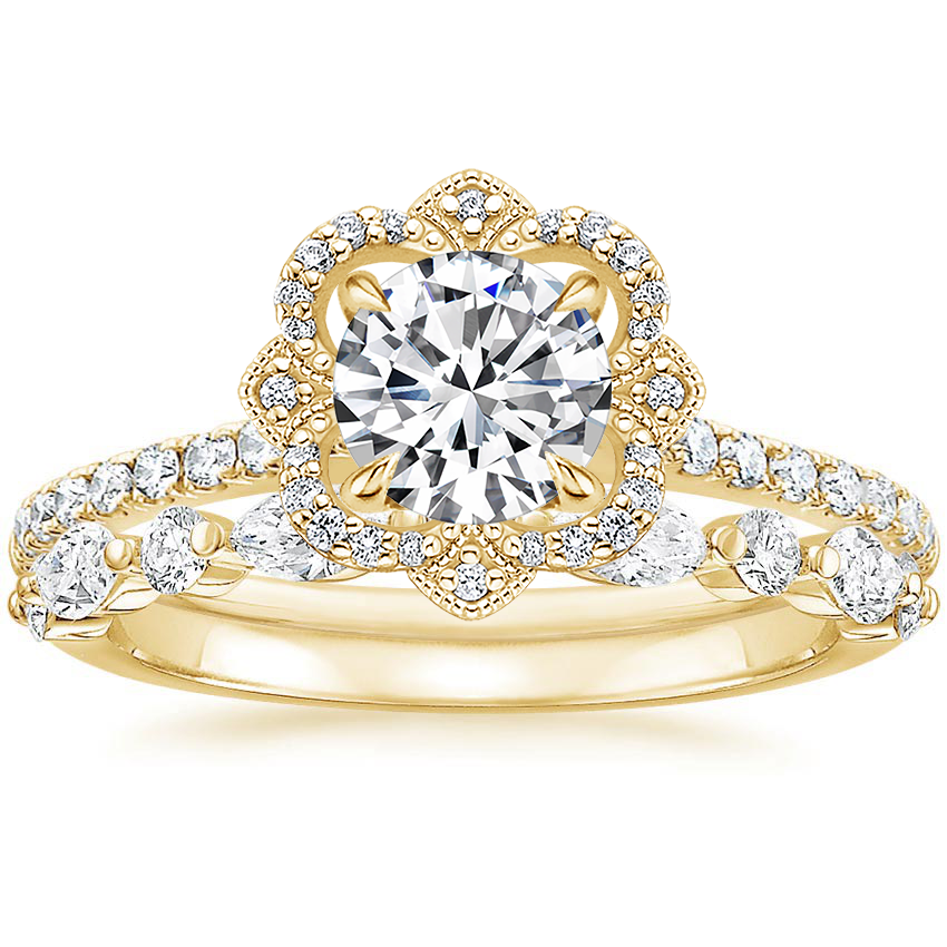 18K Yellow Gold Reina Diamond Ring with Versailles Diamond Ring (3/8 ct. tw.)