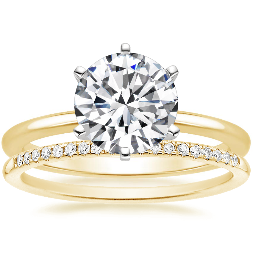 18K Yellow Gold Six-Prong Petite Comfort Fit Ring with Whisper Diamond Ring (1/10 ct. tw.)