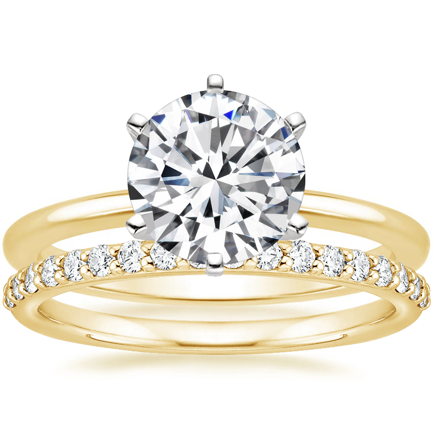 18K Yellow Gold Six-Prong Petite Comfort Fit Ring with Petite Shared Prong Diamond Ring (1/4 ct. tw.)