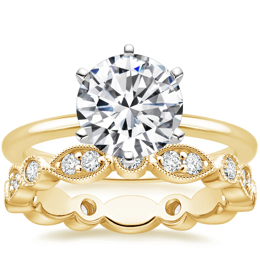 18K Yellow Gold Six-Prong Petite Comfort Fit Ring with Luxe Tiara Eternity Diamond Ring (1/2 ct. tw.)