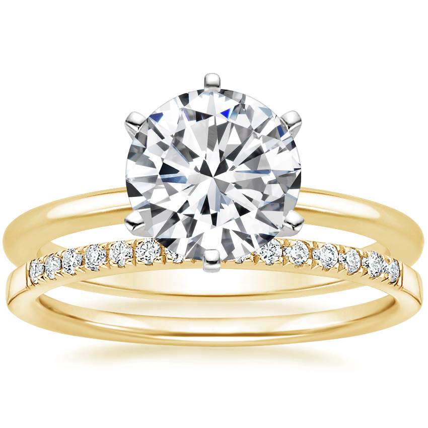 18K Yellow Gold Six-Prong Petite Comfort Fit Ring with Petite Ballad Diamond Ring (1/10 ct. tw.)