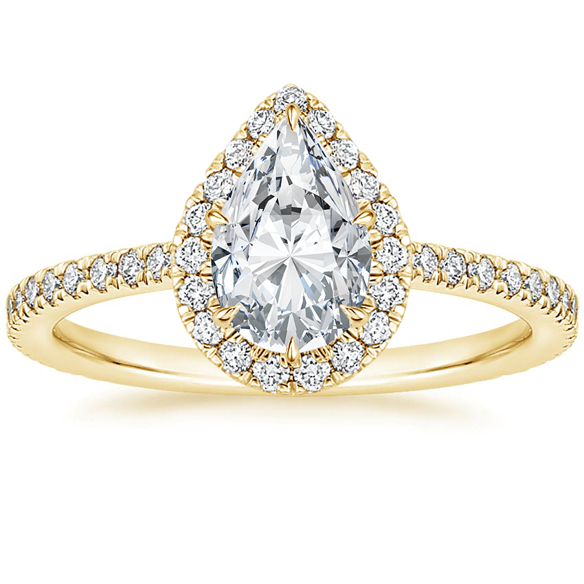 Pear 18K Yellow Gold Luxe Ballad Halo Diamond Ring (1/3 ct. tw.)