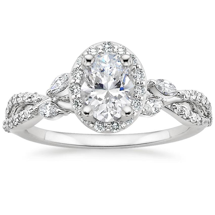 Oval Floral Halo Engagement Ring