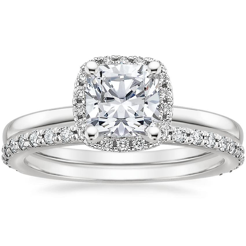 18K White Gold French Halo Diamond Ring with Luxe Sonora Diamond Ring (1/4 ct. tw.)
