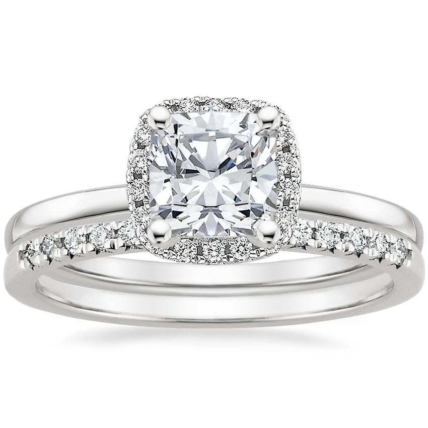 Platinum French Halo Diamond Ring with Sonora Diamond Ring (1/8 ct. tw.)