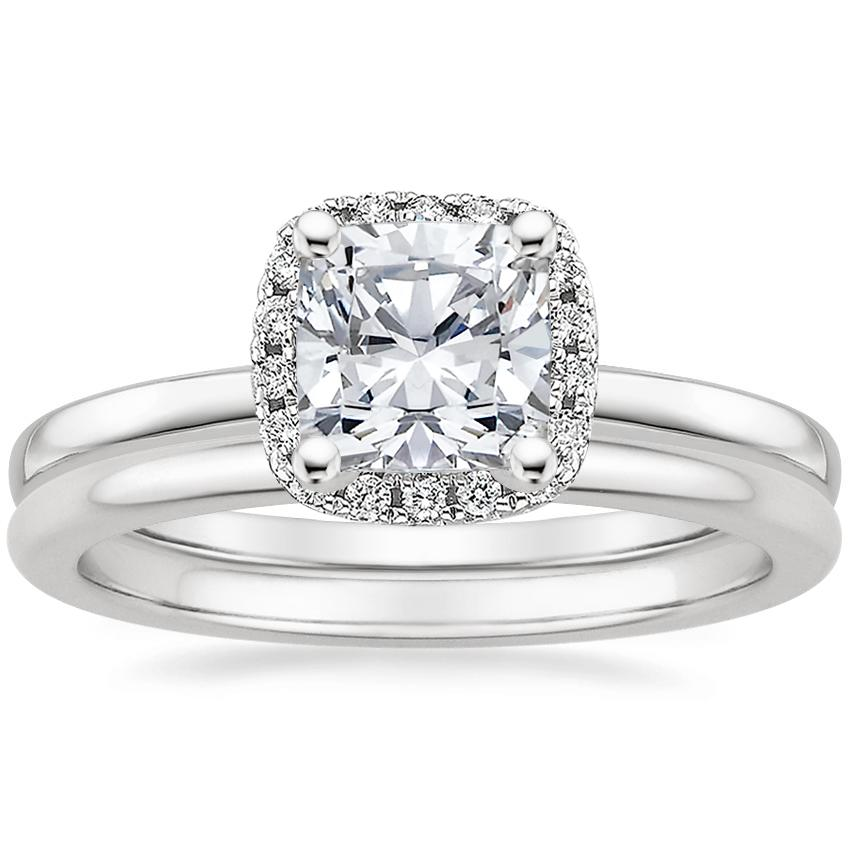 Platinum French Halo Diamond Ring with Petite Comfort Fit Wedding Ring