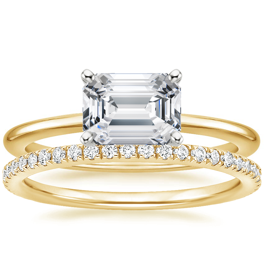 18K Yellow Gold Horizontal Petite Comfort Fit Ring with Luxe Ballad Diamond Ring (1/4 ct. tw.)