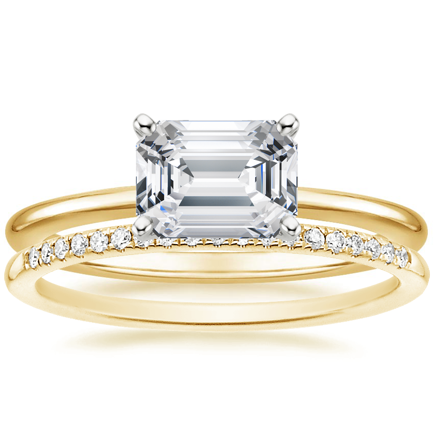 18K Yellow Gold Horizontal Petite Comfort Fit Ring with Whisper Diamond Ring (1/10 ct. tw.)