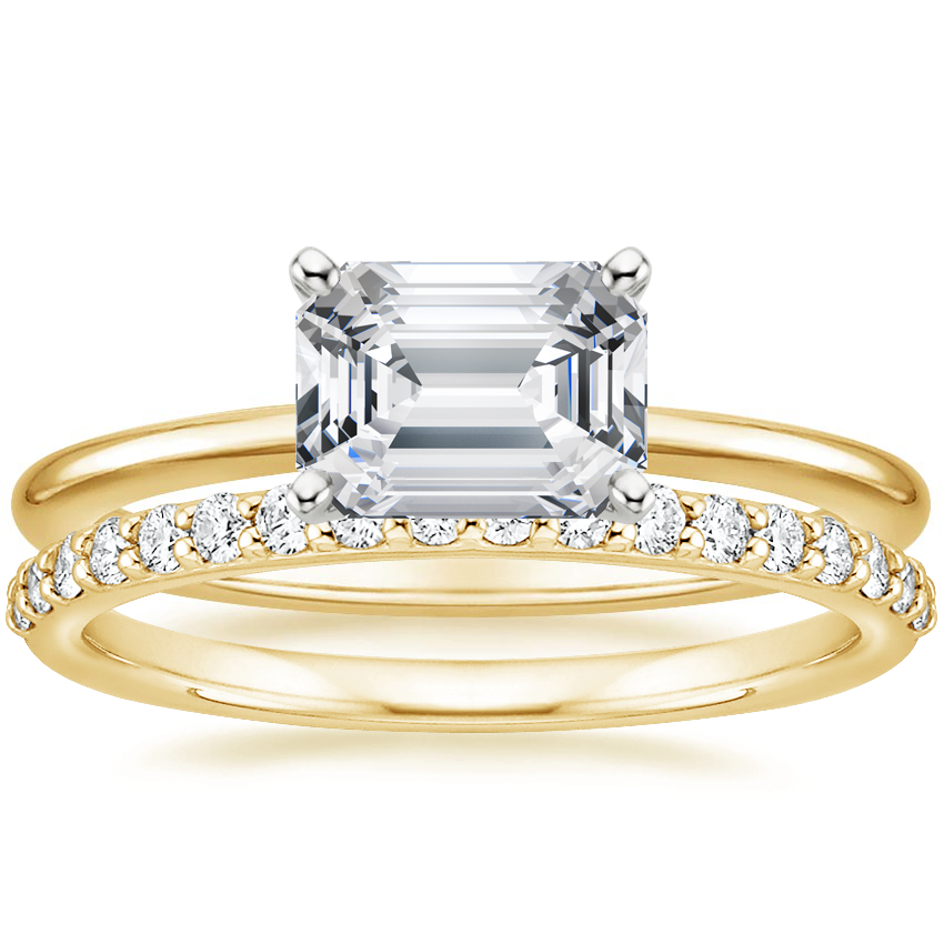 18K Yellow Gold Horizontal Petite Comfort Fit Ring with Petite Shared Prong Diamond Ring (1/4 ct. tw.)