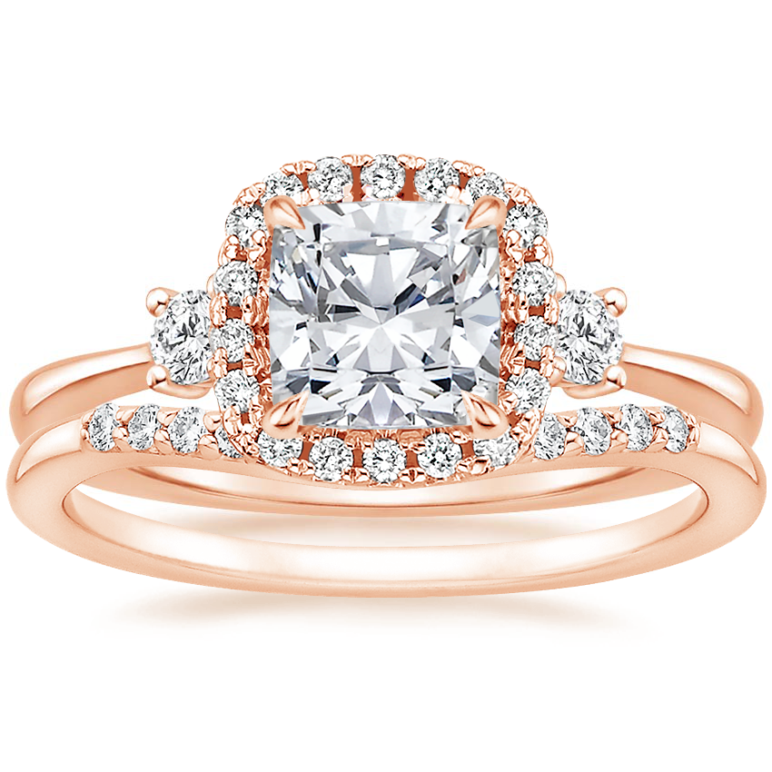 14K Rose Gold Selene Halo Diamond Ring (1/4 ct. tw.) with Petite Curved Diamond Ring (1/10 ct. tw.)