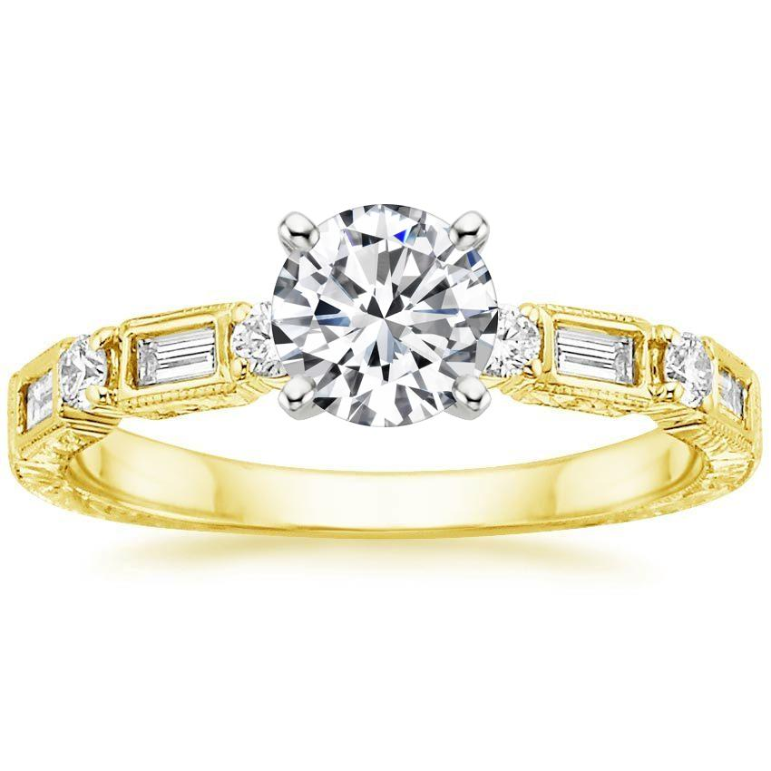 18K Yellow Gold Vintage Diamond Baguette Ring (1/4 ct. tw.), top view