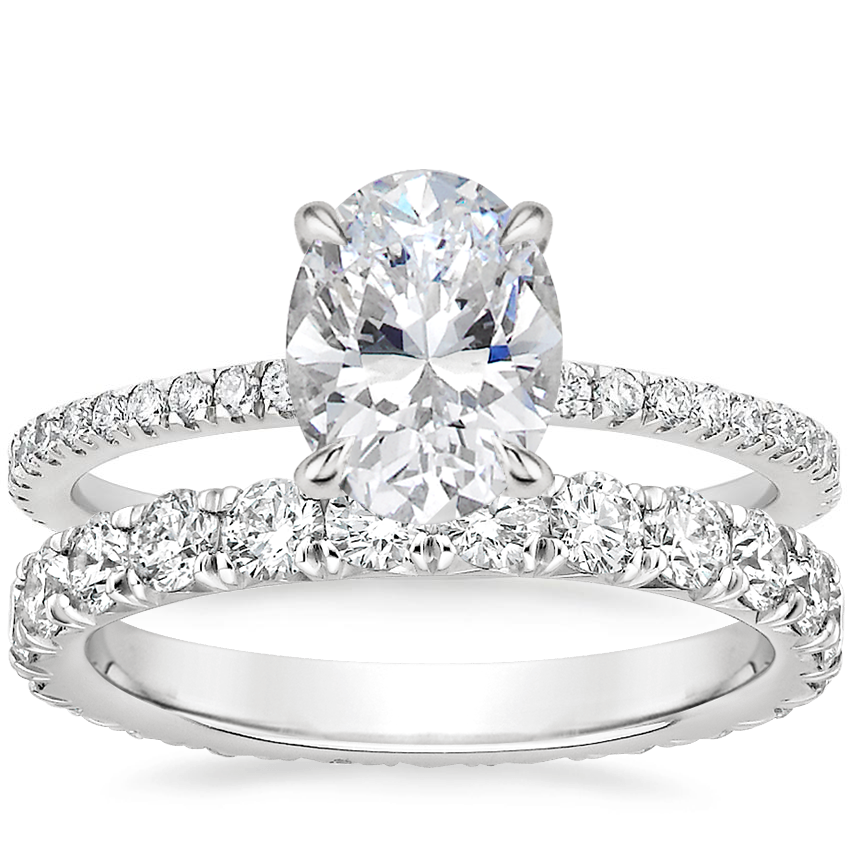 18K White Gold Luxe Viviana Diamond Ring (1/3 ct. tw.) with Luxe Anthology Eternity Diamond Ring (1 1/3 ct. tw.)