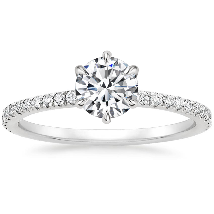 Round Six Prong Diamond Gallery Ring