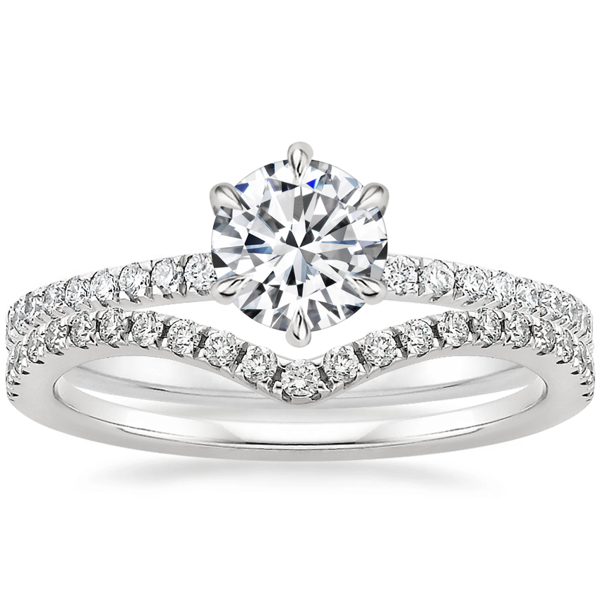 18K White Gold Karina Diamond Ring (1/3 ct. tw.) with Flair Diamond Ring (1/6 ct. tw.)