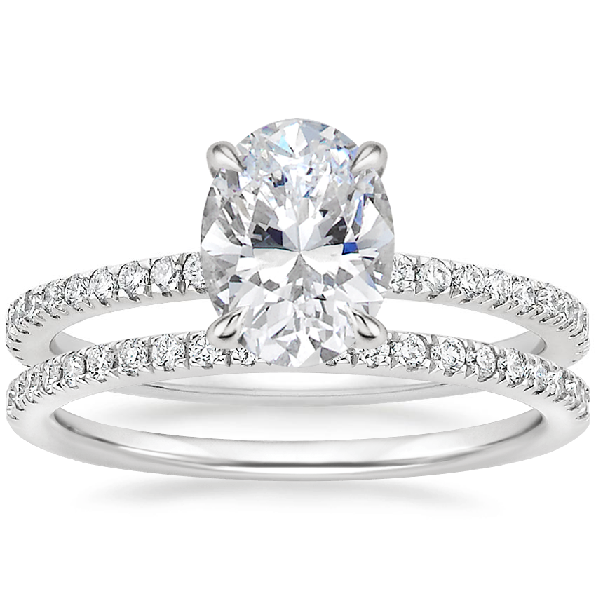 18K White Gold Luxe Viviana Diamond Ring (1/3 ct. tw.) with Ballad Diamond Ring (1/6 ct. tw.)