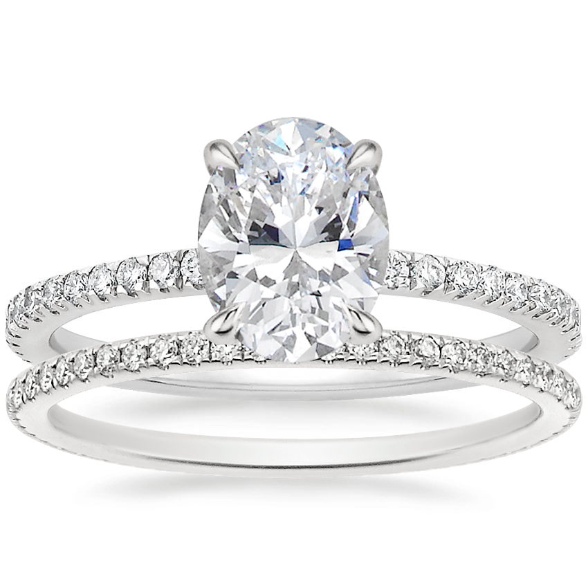 18K White Gold Viviana Diamond Ring (1/3 ct. tw.) with Whisper Eternity Diamond Ring (1/4 ct. tw.)