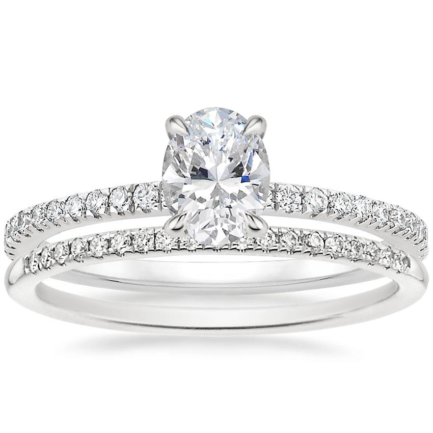 18K White Gold Viviana Diamond Ring (1/3 ct. tw.) with Whisper Diamond Ring (1/10 ct. tw.)