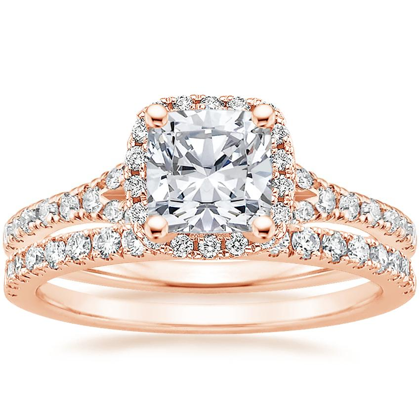 14K Rose Gold Harmony Diamond Ring with Bliss Diamond Ring (1/4 ct. tw.), top view