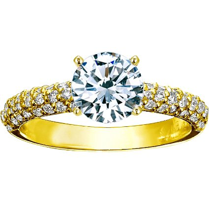 Round 18K Yellow Gold Pavé Diamond Multi Row Ring (1/2 ct.tw.)